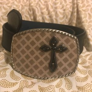 Vera Pelle Leather Belt & Custom Hot Buckle Cross